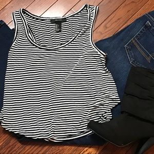 Forever 21 Black/white striped sleeveless tank top